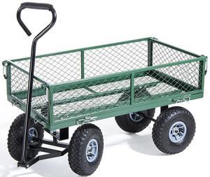 CARRELLO 4 ruote CON PIANALE E SPONDE IN RETE 150kg