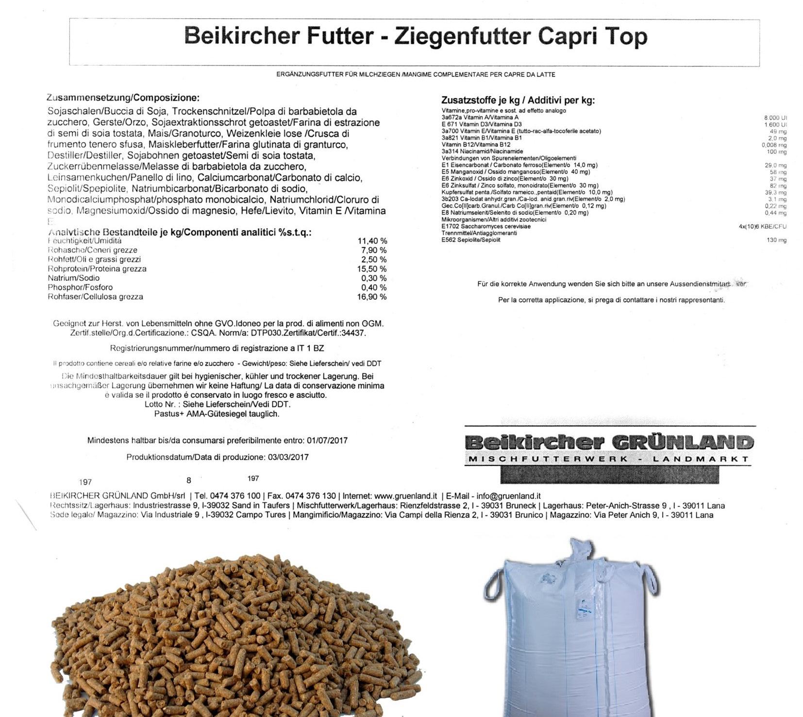 BEIKIRCHER - Mangime Capri Top Grana - Ziegenfutter - Mangime per capre da latte