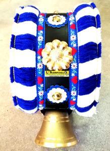Campana in Ottone Austria 70mm con Collare Lavorato BLU/BIA
