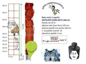 euronetz - Rete Antilupi H145+15 - 2punte ELETTRIFICABILE horinetz 50mt