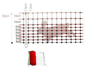 Rete CONIGLI 50CM 1P 50MT elettrificabile