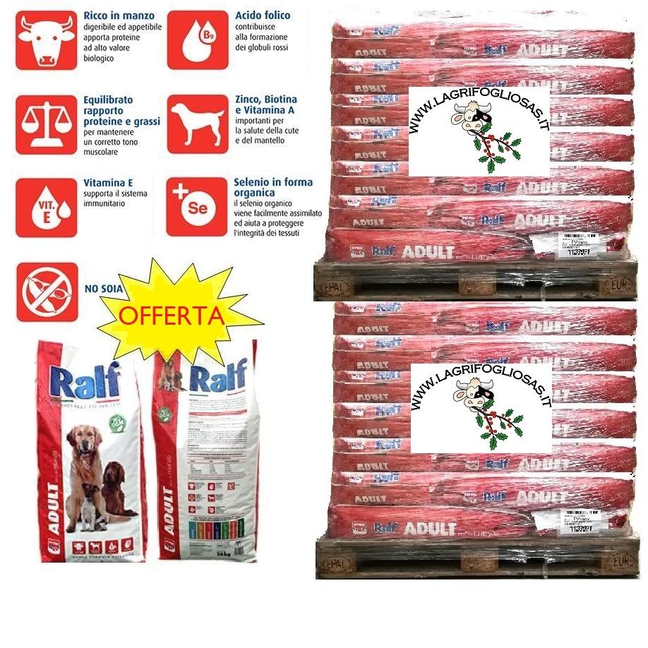 RALF - CROCCHETTE CANI RALF MANZO bancale da 21xSACCHI 20kg - SPEDITO Consegna Gratuita